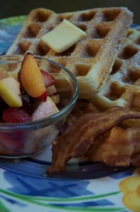 Waypoint Waffles with Bacon and Fresh Fruit Salad