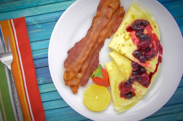 Lemon Cream Crepes with Mixed Berry Compote, Waypoint House B+B