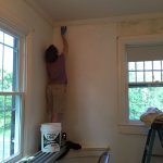 Putting on the prime coat - Yes, that's a scary corner to paint!
