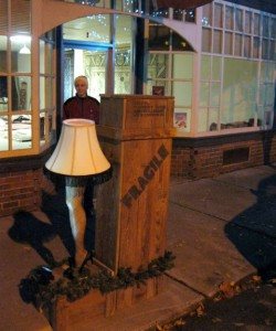 "Parking Meter Decorating Contest in Berryville, VA.  ""Christmas Story"" leg lamp, as submitted by Waypoint House B+B!"