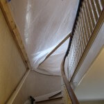 Sanding the ceiling!