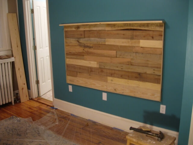 Shore Room headboard installed, no finish coat