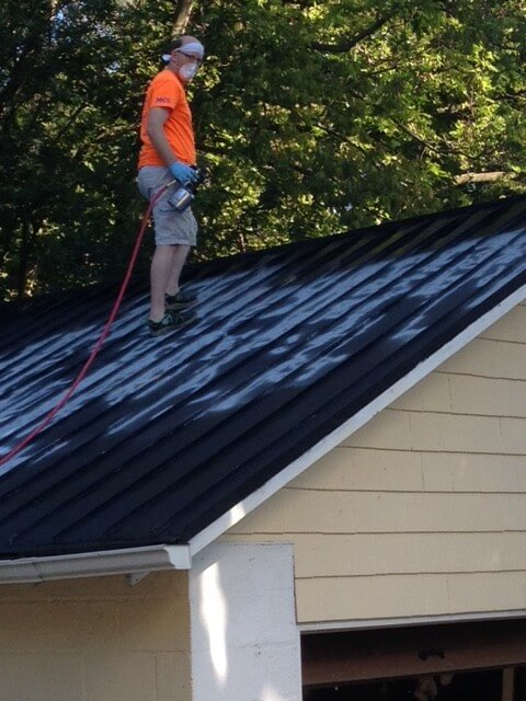 Painting the garage roof