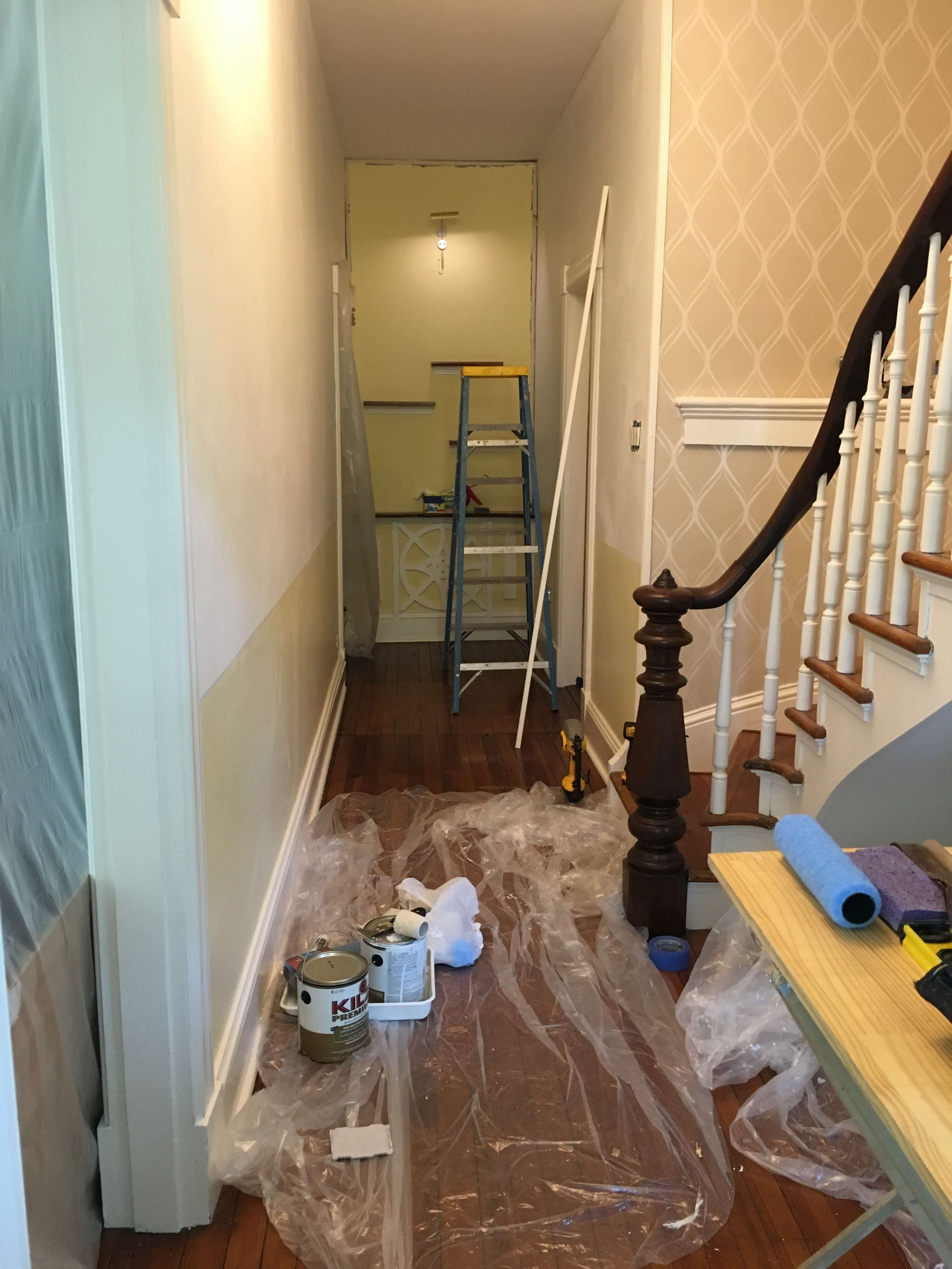 Still a little bit of chaos - prime coat and bottom color on while new wall paper install begins!